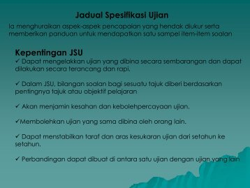 Jadual Spesifikasi Ujian Kepentingan JSU