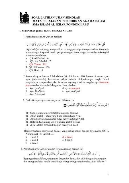 Soal Latihan Ujian Sekolah Mata Pelajaran Pendidikan