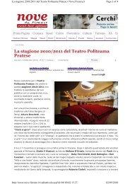 La stagione 2010/2011 del Teatro Politeama Pratese - Voglia di teatro