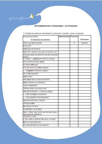 DETERMINANTES E PRONOMES - ACTIVIDADES 1 ... - Junior