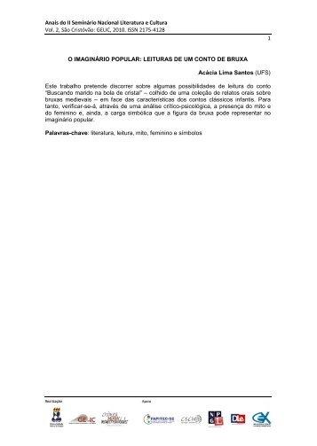 Anais do II Seminário Nacional Literatura e Cultura Vol. 2, São ...