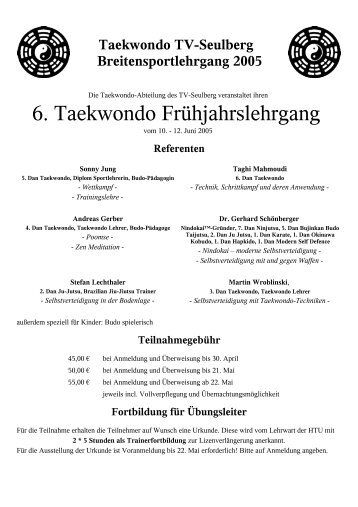 6. Taekwondo Frühjahrslehrgang - des TV-Seulberg