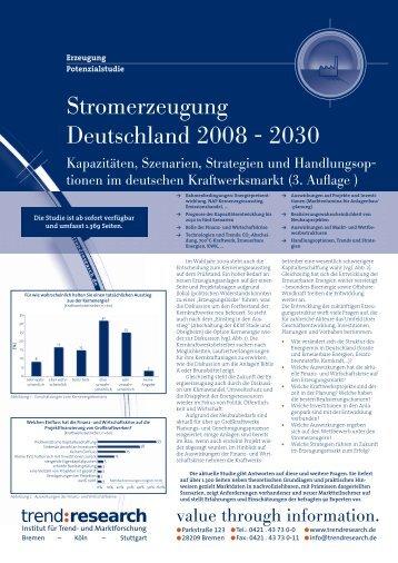 Stromerzeugung Deutschland 2008 - 2030 (3 ... - trend:research