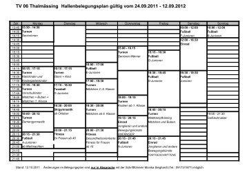 TV 06 Thalmässing Hallenbelegungsplan gültig vom 24.09.2011 ...