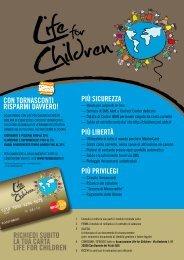 richiedi subito la tua carta life for children con tornasconti risparmi ...