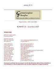 Numero 19 - dicembre 2007 - Società Filosofica Italiana