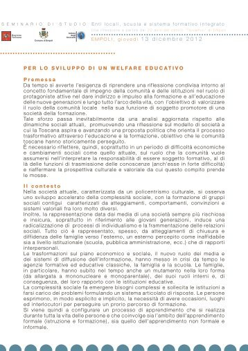 Per lo sviluppo di un welfare educativo - Gruppo Toscano Nidi e ...
