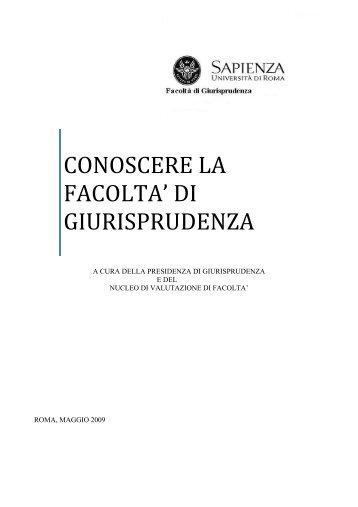 CONOSCERE LA FACOLTA' DI GIURISPRUDENZA - Sapienza