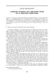 I principi generali del processo civile ed il processo tributario