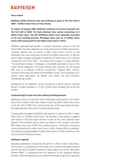 Press release Raiffeisen defies financial crisis and continues to ...