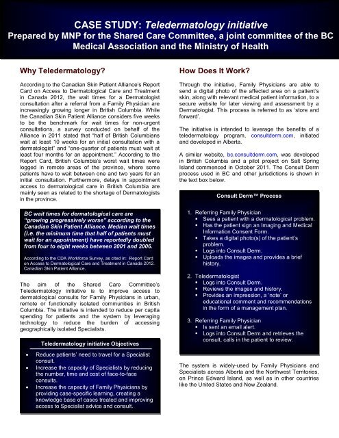 Teledermatology initiative - British Columbia Medical Association