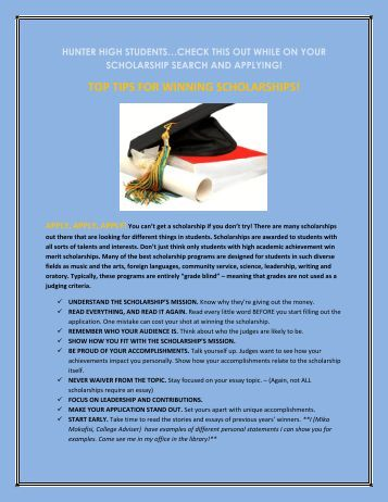 TOP TIPS FOR WINNING SCHOLARSHIPS! - Granite School District