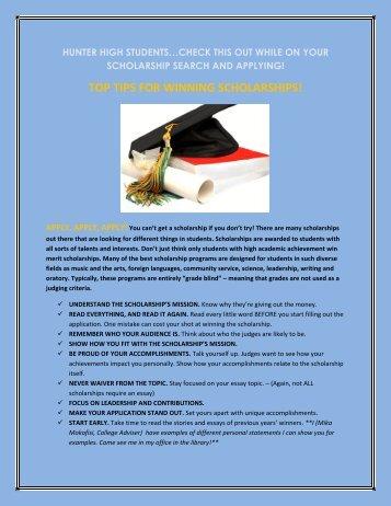 TOP TIPS FOR WINNING SCHOLARSHIPS! - Granite School District
