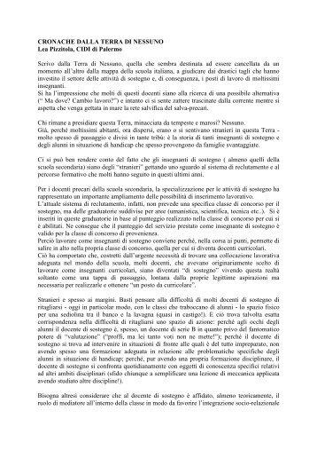Il sostegno terra di nessuno (Palermo) - Cidi