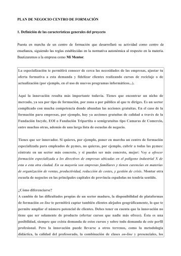 PLAN DE NEGOCIO CENTRO DE FORMACIÓN 1 ... - Emprendedores