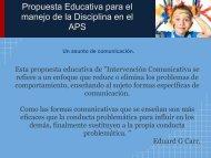 Propuesta Educativa para el manejo de la Disciplina en el APS