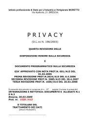 Documento programmatico sulla sicurezza (Privacy) - Ipsia Moretto