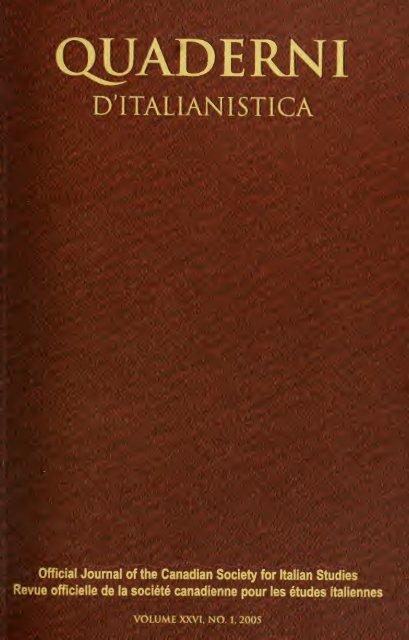 Quaderni d'italianistica : revue officielle de la Société