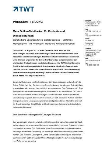 Online-Sichtbarkeit für Produkte und Dienstleistungen - TWT