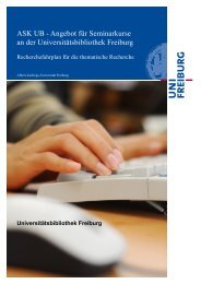 Recherchefahrplan - Albert-Ludwigs-Universität Freiburg