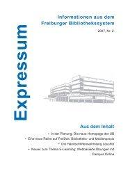 Informationen aus dem Freiburger Bibliothekssystem Aus dem Inhalt