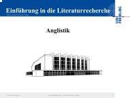 Einführung in die Literaturrecherche Anglistik