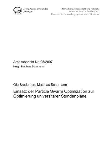 Einsatz der Particle Swarm Optimization zur Optimierung ...