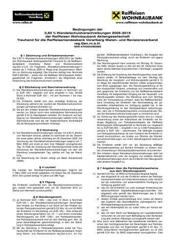 Bedingungen der 3,50 % Wandelschuldverschreibungen 2005 ...