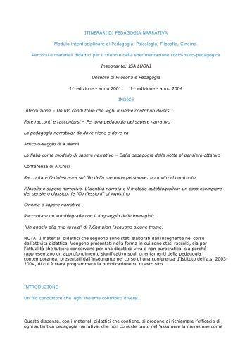 Pedagogia narrativa - Licei Manzoni
