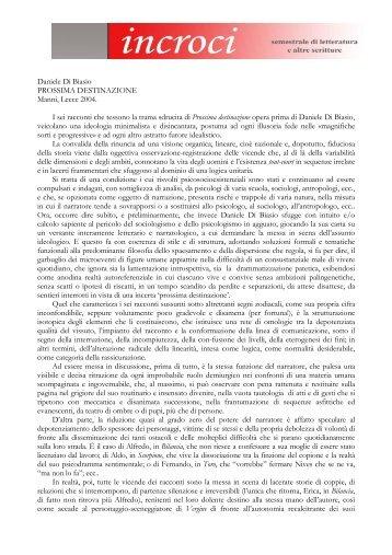 Daniele Di Biasio PROSSIMA DESTINAZIONE Manni ... - Adda Editore