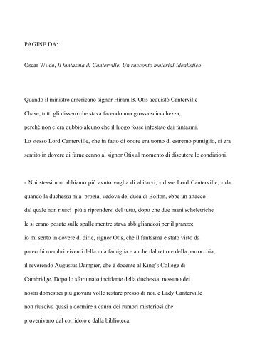 PAGINE DA: Oscar Wilde, Il fantasma di ... - 10 righe dai libri