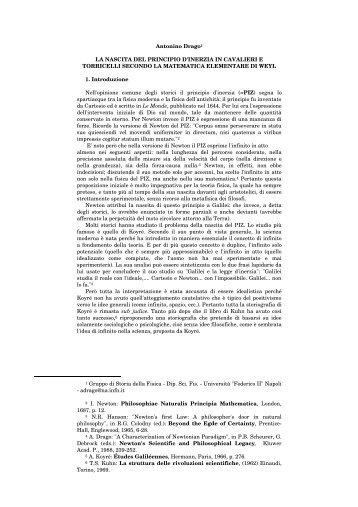 La nascita del principio d'inerzia in Cavalieri e Torricelli secondo la ...
