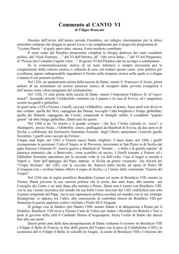 Commento al CANTO VI - Liceo magistrale
