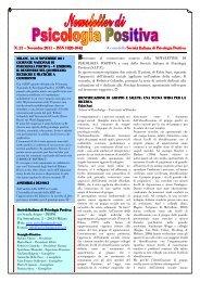 Newsletter Psicologia Positiva 21 - Società Italiana di Psicologia ...