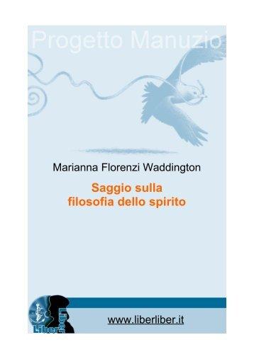 Saggio sulla filosofia dello spirito - Liber Liber