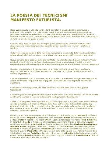 Il Manifesto Futurista - Primi di Torviscosa
