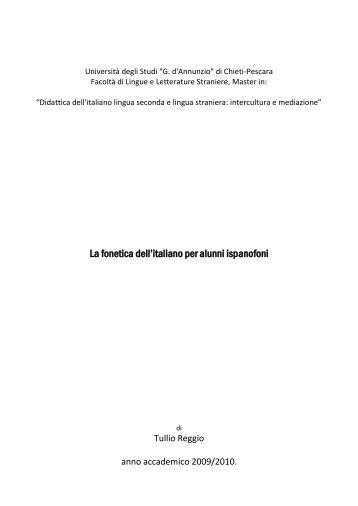 La fonetica dell'italiano per alunni ispanofoni - Altervista