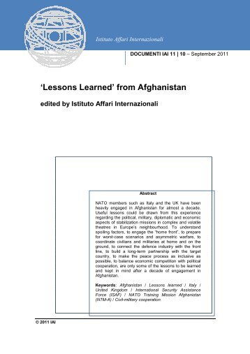 'Lessons Learned' from Afghanistan - IAI - Istituto Affari Internazionali
