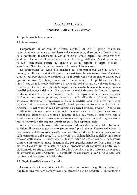 Gnoseologia filosofica - Veritatis Splendor