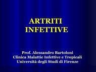artriti infettive - Medicina e Chirurgia - Università degli Studi di Firenze