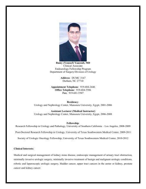 Ramy (Youssef) Yaacoub, MD Clinical Associate     - Duke Urology