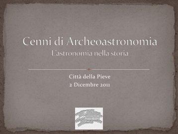 Archeastronomia - Associazione Astrofili Paolo Maffei