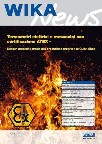 Termometri elettrici e meccanici con certificazione ATEX ...