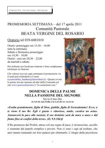 Settimana del 17 aprile - Parrocchiaoreno.It