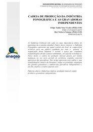 cadeia de produção da indústria fonográfica e as ... - Abepro