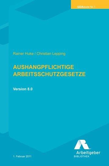 AUSHANGPFLICHTIGE ARBEITSSCHUTZGESETZE - Beuth Verlag