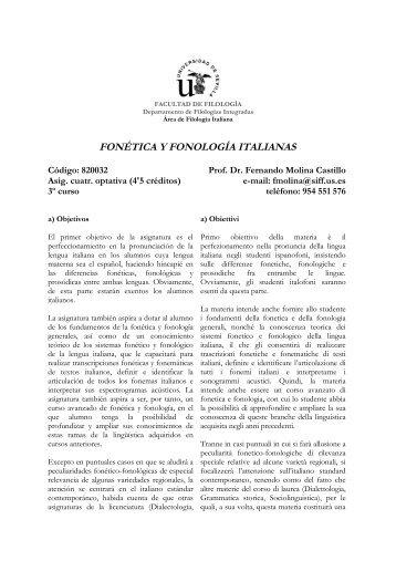 fonética y fonología italianas - Facultad de Filología - Universidad ...
