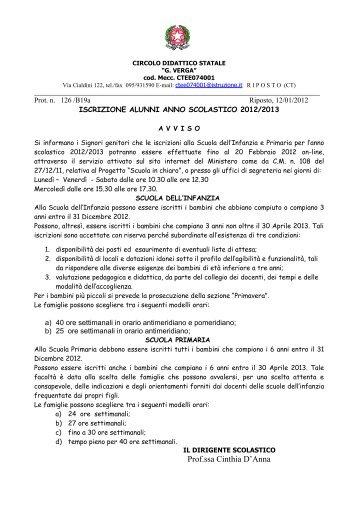 """Iscrizione alunni a.s. 2012/2013 - Istituto comprensivo """"G. Verga ..."""