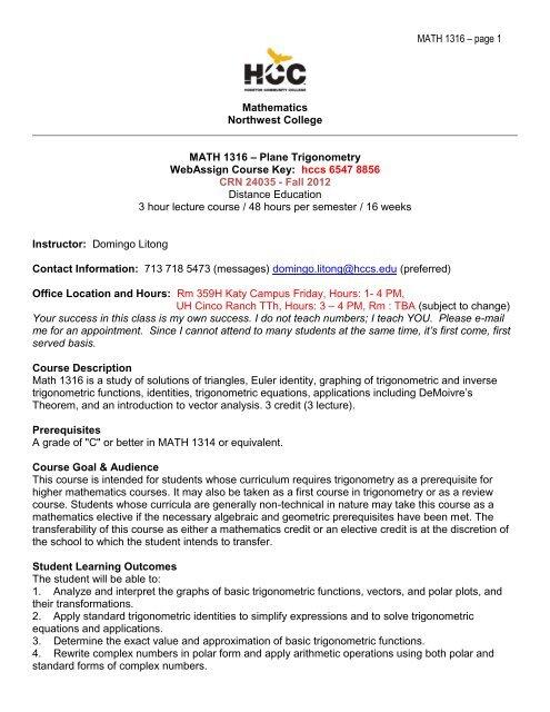 MATH 1316 – page 1 Mathematics Northwest College MATH 1316