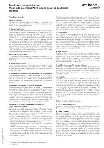Conditions de participation E-payment (PDF) - PostFinance